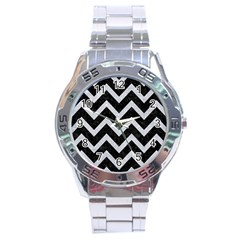Chevron9 Black Marble & Silver Glitter (r) Stainless Steel Analogue Watch by trendistuff
