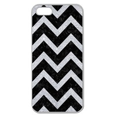 Chevron9 Black Marble & Silver Glitter (r) Apple Seamless Iphone 5 Case (clear) by trendistuff