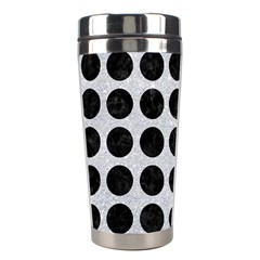 Circles1 Black Marble & Silver Glitter Stainless Steel Travel Tumblers by trendistuff