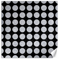 Circles1 Black Marble & Silver Glitter (r) Canvas 12  X 12   by trendistuff