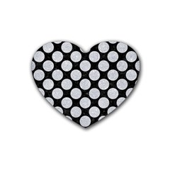 Circles2 Black Marble & Silver Glitter (r) Heart Coaster (4 Pack)  by trendistuff