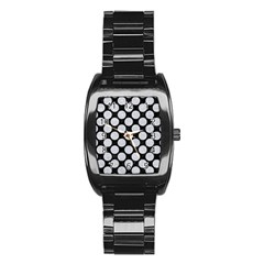 Circles2 Black Marble & Silver Glitter (r) Stainless Steel Barrel Watch by trendistuff