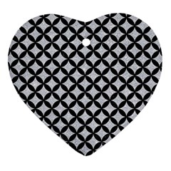Circles3 Black Marble & Silver Glitter Heart Ornament (two Sides)