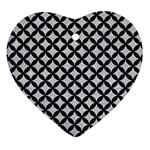 CIRCLES3 BLACK MARBLE & SILVER GLITTER Heart Ornament (Two Sides) Front