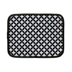 Circles3 Black Marble & Silver Glitter Netbook Case (small)