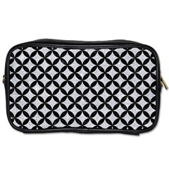 Circles3 Black Marble & Silver Glitter Toiletries Bags 2 Side by trendistuff