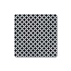 Circles3 Black Marble & Silver Glitter (r) Square Magnet