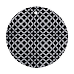 Circles3 Black Marble & Silver Glitter (r) Round Ornament (two Sides) by trendistuff