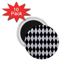 Diamond1 Black Marble & Silver Glitter 1 75  Magnets (10 Pack)  by trendistuff