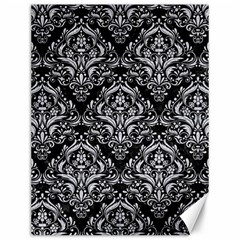 Damask1 Black Marble & Silver Glitter (r) Canvas 12  X 16   by trendistuff