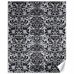 Damask2 Black Marble & Silver Glitter Canvas 11  X 14   by trendistuff