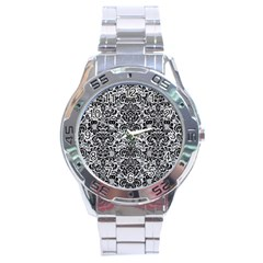 Damask2 Black Marble & Silver Glitter Stainless Steel Analogue Watch by trendistuff