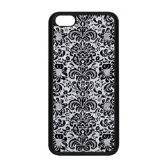 Damask2 Black Marble & Silver Glitter Apple Iphone 5c Seamless Case (black) by trendistuff