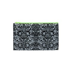 Damask2 Black Marble & Silver Glitter Cosmetic Bag (xs) by trendistuff