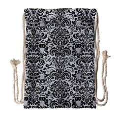 Damask2 Black Marble & Silver Glitter Drawstring Bag (large)