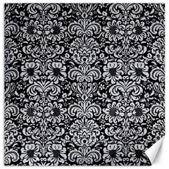 Damask2 Black Marble & Silver Glitter (r) Canvas 16  X 16   by trendistuff