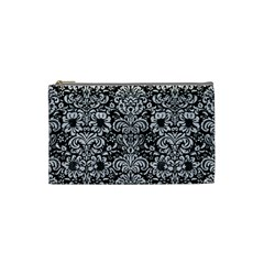 Damask2 Black Marble & Silver Glitter (r) Cosmetic Bag (small)  by trendistuff