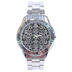Damask2 Black Marble & Silver Glitter (r) Stainless Steel Analogue Watch by trendistuff