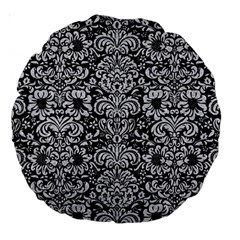 Damask2 Black Marble & Silver Glitter (r) Large 18  Premium Round Cushions by trendistuff