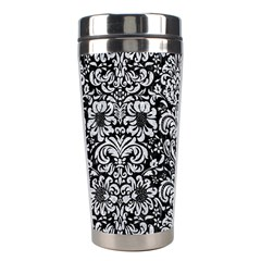 Damask2 Black Marble & Silver Glitter (r) Stainless Steel Travel Tumblers by trendistuff