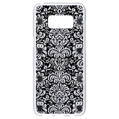 Damask2 Black Marble & Silver Glitter (r) Samsung Galaxy S8 White Seamless Case