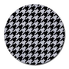 Houndstooth1 Black Marble & Silver Glitter Round Mousepads by trendistuff
