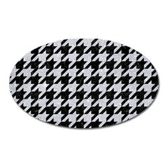 Houndstooth1 Black Marble & Silver Glitter Oval Magnet by trendistuff