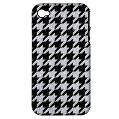 Houndstooth1 Black Marble & Silver Glitter Apple Iphone 4/4s Hardshell Case (pc+silicone) by trendistuff