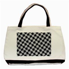 Houndstooth2 Black Marble & Silver Glitter Basic Tote Bag by trendistuff