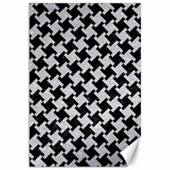 Houndstooth2 Black Marble & Silver Glitter Canvas 12  X 18   by trendistuff