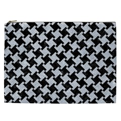 Houndstooth2 Black Marble & Silver Glitter Cosmetic Bag (xxl)  by trendistuff