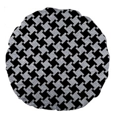 Houndstooth2 Black Marble & Silver Glitter Large 18  Premium Round Cushions by trendistuff