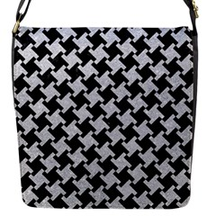 Houndstooth2 Black Marble & Silver Glitter Flap Messenger Bag (s) by trendistuff