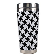 Houndstooth2 Black Marble & Silver Glitter Stainless Steel Travel Tumblers by trendistuff