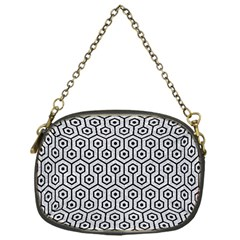Hexagon1 Black Marble & Silver Glitter Chain Purses (one Side)  by trendistuff
