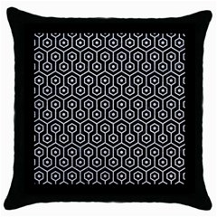 Hexagon1 Black Marble & Silver Glitter (r) Throw Pillow Case (black) by trendistuff