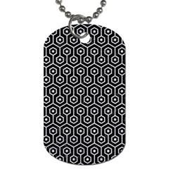 Hexagon1 Black Marble & Silver Glitter (r) Dog Tag (one Side) by trendistuff