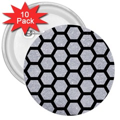 Hexagon2 Black Marble & Silver Glitter 3  Buttons (10 Pack)  by trendistuff