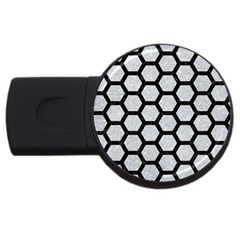 Hexagon2 Black Marble & Silver Glitter Usb Flash Drive Round (2 Gb) by trendistuff