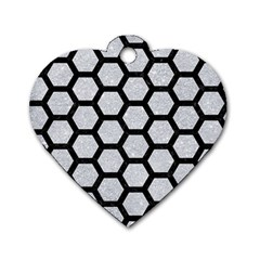 Hexagon2 Black Marble & Silver Glitter Dog Tag Heart (one Side) by trendistuff