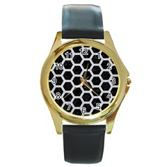 Hexagon2 Black Marble & Silver Glitter (r) Round Gold Metal Watch by trendistuff