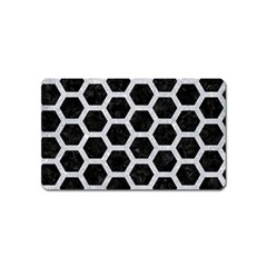 Hexagon2 Black Marble & Silver Glitter (r) Magnet (name Card) by trendistuff