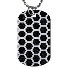 Hexagon2 Black Marble & Silver Glitter (r) Dog Tag (two Sides) by trendistuff