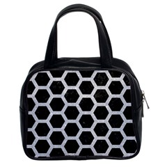 Hexagon2 Black Marble & Silver Glitter (r) Classic Handbags (2 Sides) by trendistuff