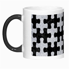 Puzzle1 Black Marble & Silver Glitter Morph Mugs by trendistuff