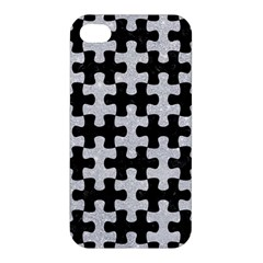 Puzzle1 Black Marble & Silver Glitter Apple Iphone 4/4s Hardshell Case by trendistuff