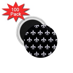 Royal1 Black Marble & Silver Glitter 1 75  Magnets (100 Pack)  by trendistuff
