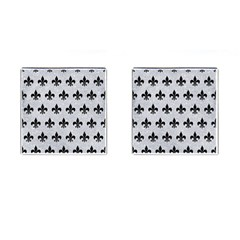 Royal1 Black Marble & Silver Glitter (r) Cufflinks (square)
