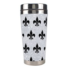 Royal1 Black Marble & Silver Glitter (r) Stainless Steel Travel Tumblers by trendistuff