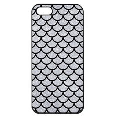 Scales1 Black Marble & Silver Glitter Apple Iphone 5 Seamless Case (black) by trendistuff